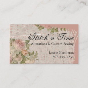 Vintage seamstress business cards zazzle au vintage shabby chic roses fabric sewing seamstress business card reheart Image collections