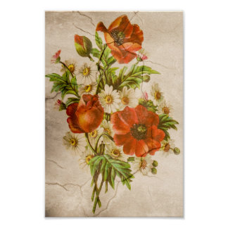 Vintage Shabby Chic Rustic Poppy Bouquet Poster