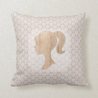Vintage Shabby Design and Realistic Wood Silhouett Throw Pillow