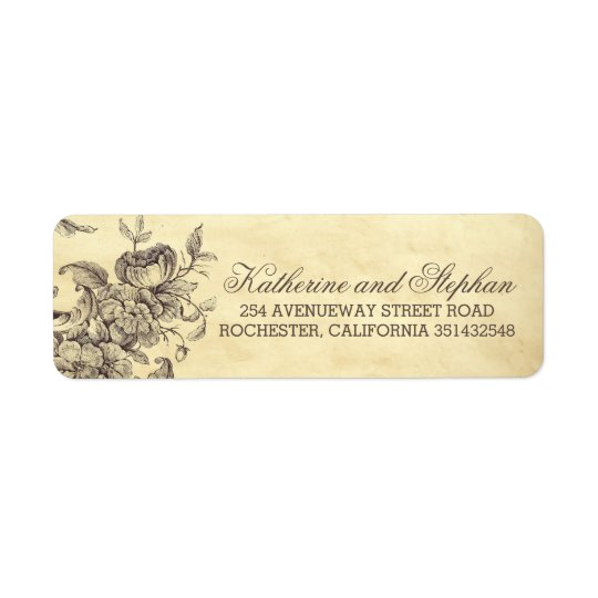 Vintage Shabby Flourishes Wedding Return Address Label