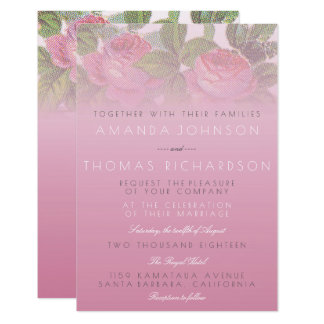 Vintage Shabby Peony Powder Pink Ombre Card