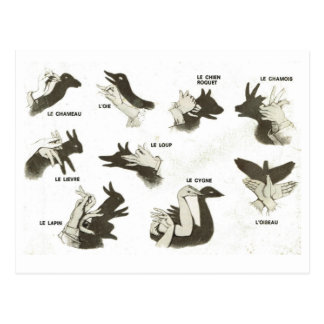 Vintage, shadow puppet shapes, ombres chinoises postcard