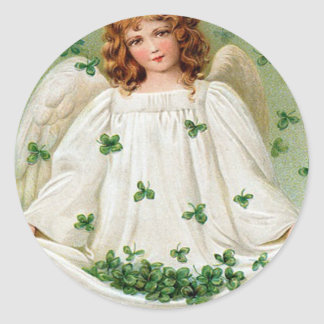 Vintage Shamrock Angel St Patrick's Day Card Classic Round Sticker