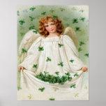 Vintage Shamrock Angel St Patrick's Day Card Poster