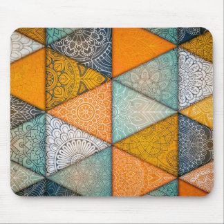 Vintage shapes in geometry triangles mouse pad