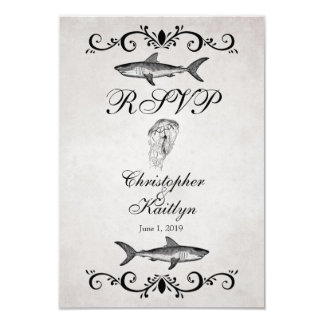 Vintage Shark and Jellyfish Wedding RSVP Cards