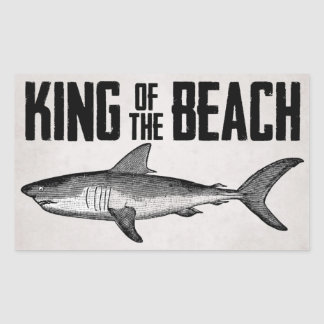 Vintage Shark Beach King Rectangular Sticker