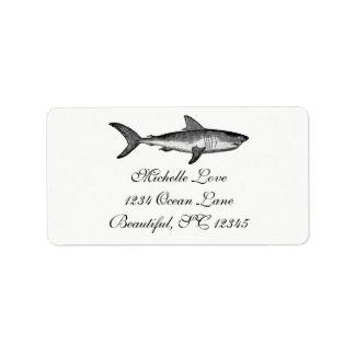 Vintage Shark Ocean Beach Black White Address Address Label