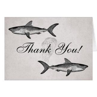 Vintage Sharks and Jellyfish Ocean Beach Thank You Card