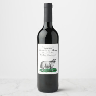 Vintage Sheep Ewe Farm Animals Drawing C Wine Label
