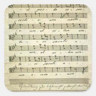 Vintage Sheet Music, Antique Musical Score 1810 Square Sticker