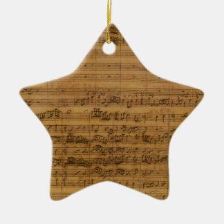 Vintage Sheet Music by Johann Sebastian Bach Ceramic Star Decoration