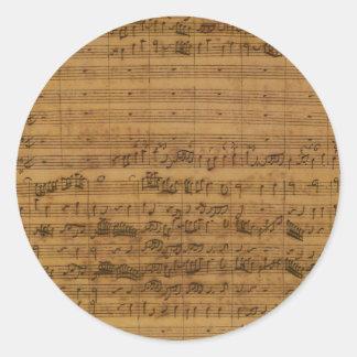 Vintage Sheet Music by Johann Sebastian Bach Round Sticker