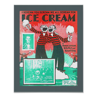 Vintage Sheet Music Ice Cream Howard Johnson copy Poster
