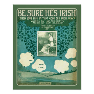 Vintage Sheet Music Make Sure He's Irish Poster