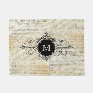 Vintage Sheet Music Monogram Mat