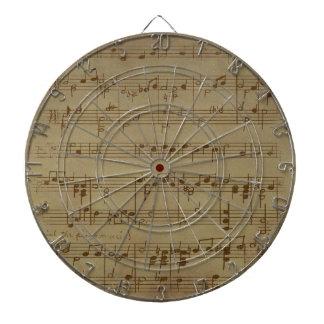 Vintage sheet music pattern dartboard