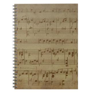 Vintage sheet music pattern notebook