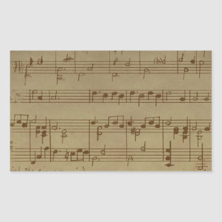 Vintage sheet music pattern rectangular sticker