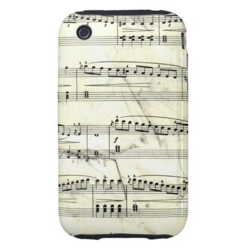 Vintage Sheet Music Rustic Paper Print iPhone 3 Tough Cover