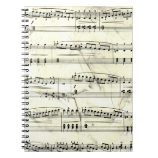 Vintage Sheet Music Rustic Paper Print Spiral Notebook