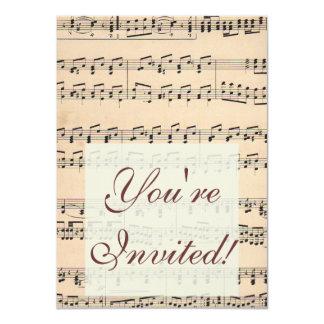 Vintage Sheet Music Score Black and White notes 11 Cm X 16 Cm Invitation Card