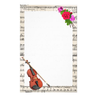 Vintage Sheet Music with Violin and Roses Custom Stationery