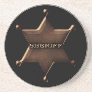 Vintage Sheriff Badge Print Sandstone Coaster