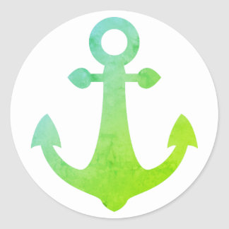 Vintage Ship Anchor Lime Green Nautical Sailor Round Sticker