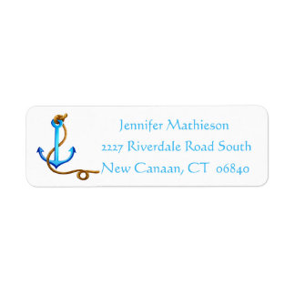 Vintage Ship Anchor Nautical Love - Blue Turquoise Return Address Label