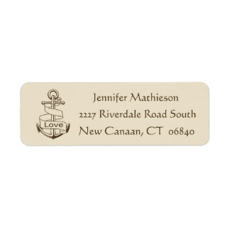 Vintage Ship Anchor Nautical Love - Brown / Tan Return Address Label