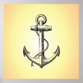 Vintage ship anchor poster