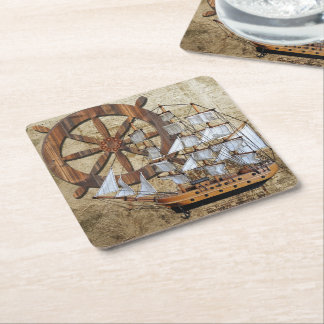 Vintage Ship and Steering Wheel Square Paper Coaster