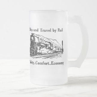 Vintage Ship and Travel By Rail Frosted Glass Beer Mug