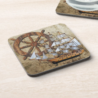 Vintage Ship Beverage Coasters