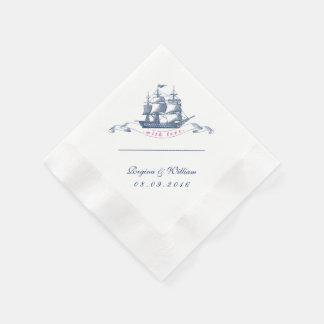 Vintage Ship Navy Blue and White Cocktail Napkin Paper Napkin
