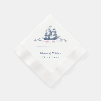 Vintage Ship Navy Blue and White Cocktail Napkin Paper Napkins