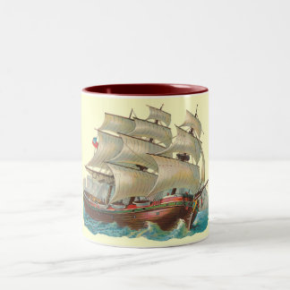 Vintage Ship Sail Across Blue Sea Coffee Cup Mug