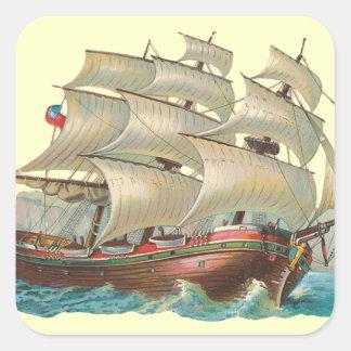 Vintage Ship Sail Across the Blue Sea Fun Stickers