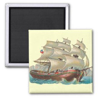 Vintage Ship Sail Across the Blue Sea Magnet