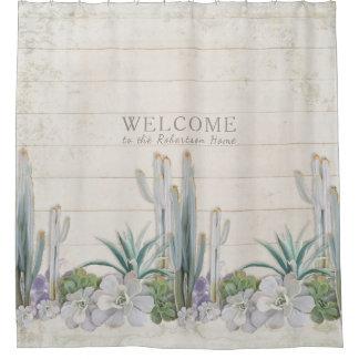 Vintage Shiplap Wood Desert Cactus Succulent West Shower Curtain