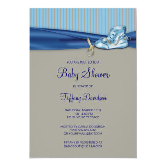 Vintage Shoe Baby Boy Shower 13 Cm X 18 Cm Invitation Card