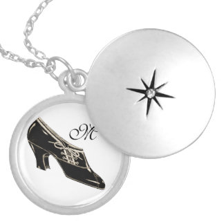 Vintage Shoe Round Locket Necklace