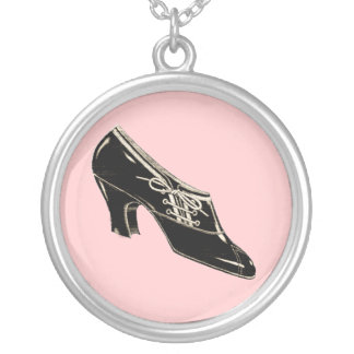 Vintage Shoe Round Pendant Necklace