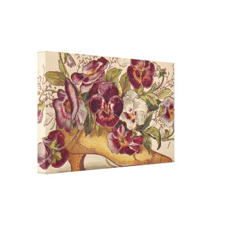 Vintage Shoe With Pansies Canvas Art