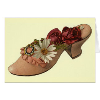 Vintage - Shoe with Roses Greeting Card