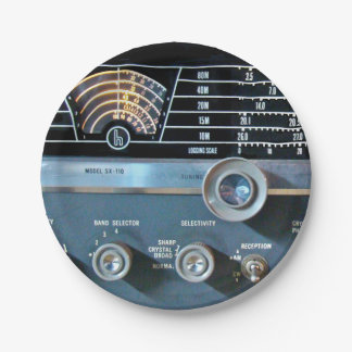 Vintage Short Wave Radio Receiver Paper Plate