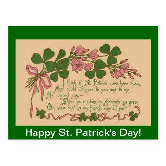 Vintage Show Your Shamrock St. Patrick's Day Post Card