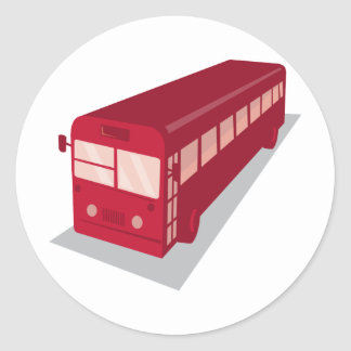 vintage shuttle bus coach retro classic round sticker