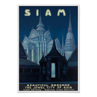 Vintage Siam (Thailand) Travel Poster Print